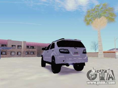 Toyota Fortuner 2012 TRD Off-Road for GTA San Andreas back left view