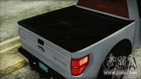 Ford F-150 SVT Raptor 2012 Stock Version for GTA San Andreas inner view