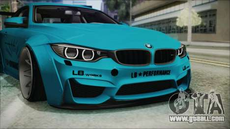 BMW M4 2014 Liberty Walk for GTA San Andreas upper view