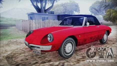 Alfa Romeo Spider Duetto 1966 for GTA San Andreas back view