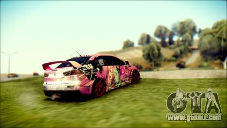 Mitsubishi Lancer Evolution Miku X Luka Itasha for GTA San Andreas left view