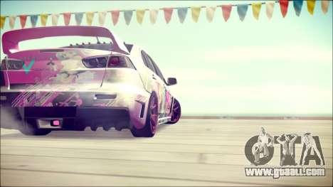 Mitsubishi Lancer Evolution Miku X Luka Itasha for GTA San Andreas back left view