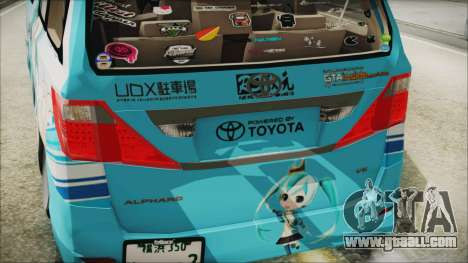 Toyota Alphard Hatsune Miku for GTA San Andreas back view