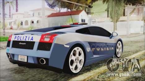 Lamborghini Gallardo 2004 Italian Polizia for GTA San Andreas left view