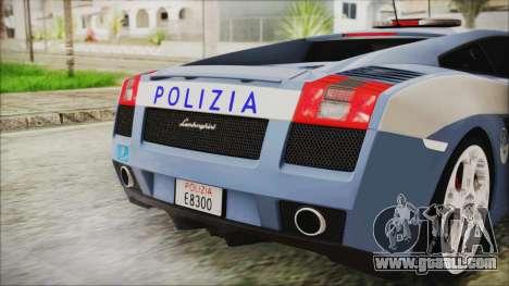 Lamborghini Gallardo 2004 Italian Polizia for GTA San Andreas back view