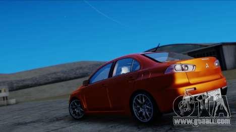 Mitsubishi Lancer Evolution X Tunable New PJ for GTA San Andreas back left view