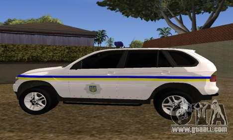 BMW X5 Ukranian Police for GTA San Andreas back view