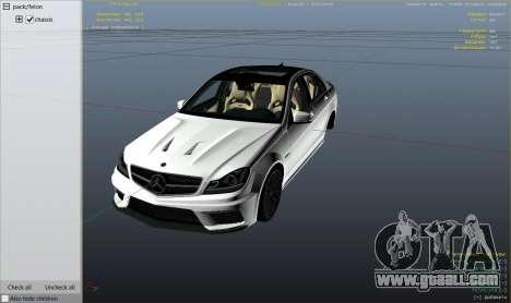 GTA 5 Mercedes-Benz C63 AMG v2 right side view