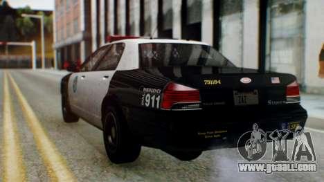 GTA 5 Vapid Stanier II Police for GTA San Andreas back left view