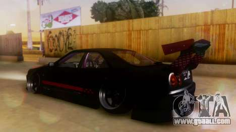 Nissan Skyline GT-R R34 Hella for GTA San Andreas back left view