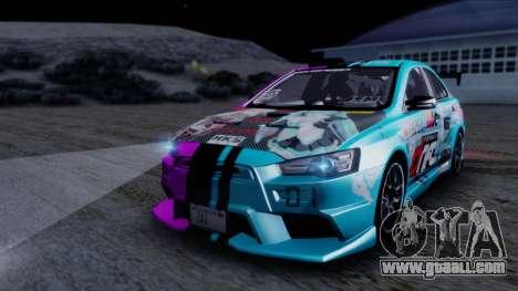Mitsubishi Lancer Evolution X Tunable New PJ for GTA San Andreas upper view