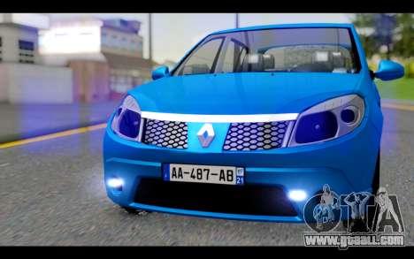 Renault Sandero for GTA San Andreas back view