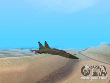 The MiG 25 for GTA San Andreas back left view