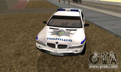BMW X5 Ukranian Police for GTA San Andreas back left view