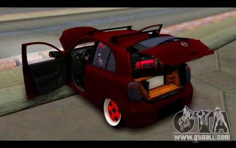 Nissan March 2011 Hellaflush for GTA San Andreas bottom view