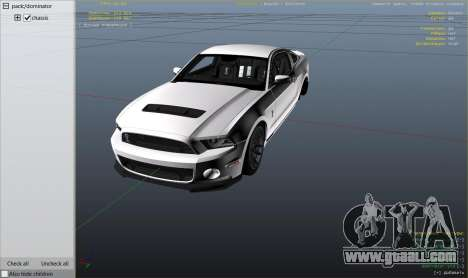 GTA 5 2013 Ford Mustang Shelby GT500 right side view