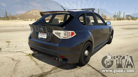 GTA 5 LAPD Subaru Impreza WRX STI rear left side view