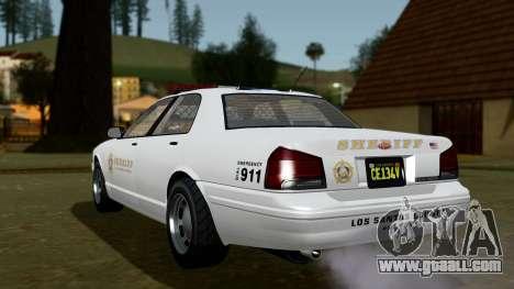 GTA 5 Vapid Stanier II Sheriff Cruiser IVF for GTA San Andreas left view