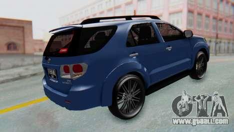 Toyota Fortuner TRD Sportivo Vossen for GTA San Andreas back left view