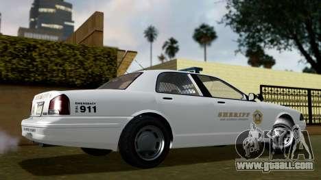 GTA 5 Vapid Stanier II Sheriff Cruiser IVF for GTA San Andreas back left view