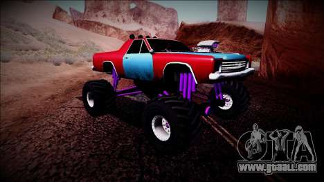 Picador Monster Truck for GTA San Andreas back view