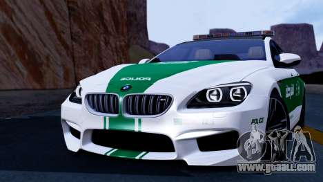 BMW M6 F13 Gran Coupe 2014 Dubai Police for GTA San Andreas back left view