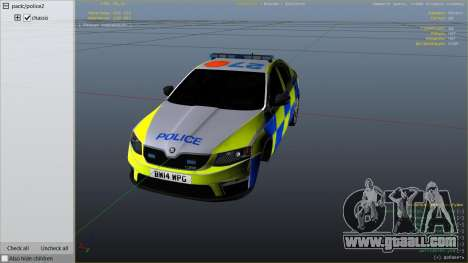 GTA 5 2014 Police Skoda Octavia VRS Hatchback right side view