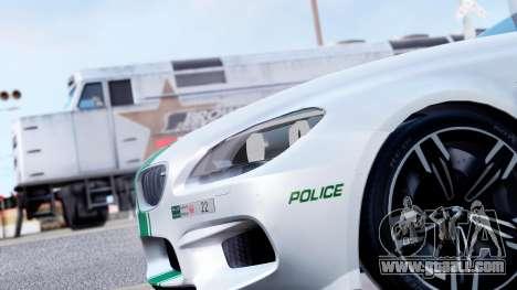 BMW M6 F13 Gran Coupe 2014 Dubai Police for GTA San Andreas back view
