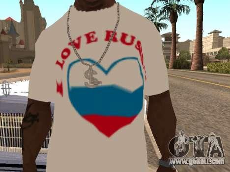 T-shirt I love Russia for GTA San Andreas second screenshot