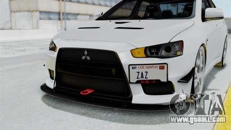 Mitsubishi Lancer Evolution X GSR Full Tunable for GTA San Andreas upper view