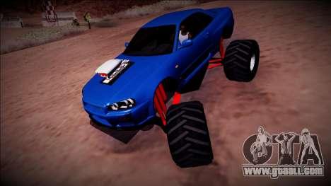 Nissan Skyline R34 Monster Truck for GTA San Andreas back view
