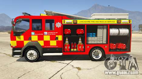 GTA 5 DAF Lancashire Fire & Rescue Fire Appliance left side view