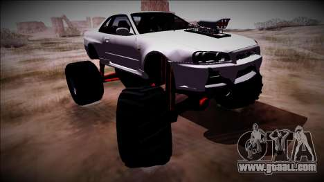 Nissan Skyline R34 Monster Truck for GTA San Andreas left view