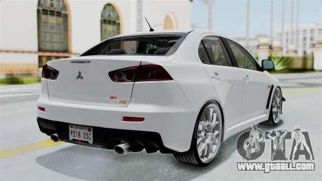 Mitsubishi Lancer Evolution X GSR Full Tunable for GTA San Andreas left view