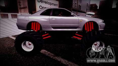 Nissan Skyline R34 Monster Truck for GTA San Andreas bottom view