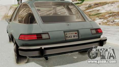 AMC Pacer 1978 IVF for GTA San Andreas inner view
