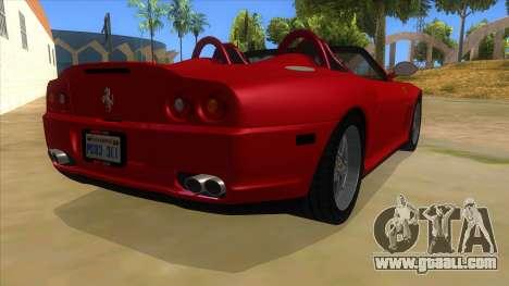 Ferrari 550 Barchetta Pinifarina US Specs 2001 for GTA San Andreas right view