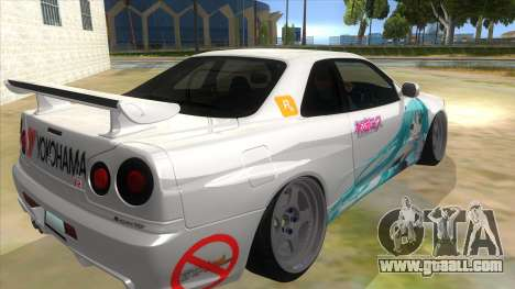 Nissan Skyline GT-R R34 Hatsune Miku for GTA San Andreas right view