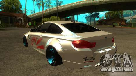 BMW M4 Liberty Walk Performance for GTA San Andreas back left view