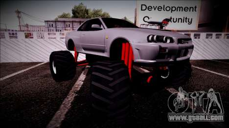 Nissan Skyline R34 Monster Truck for GTA San Andreas upper view