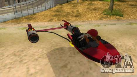 StarWars Anakin Podracer for GTA San Andreas back left view
