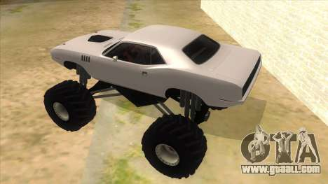 1971 Plymouth Hemi Cuda Monster Truck for GTA San Andreas back left view
