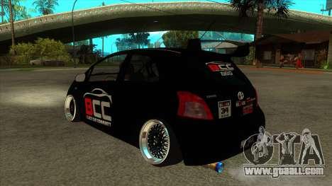 Toyota Yaris (Vitz) [Black Car Community] for GTA San Andreas back left view
