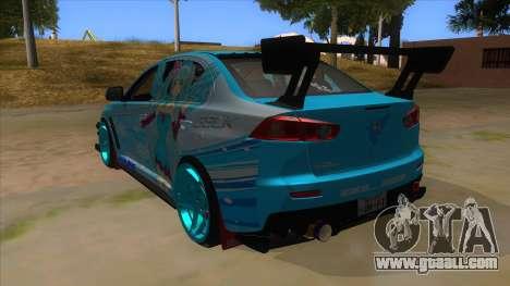 Mitsubishi Lancer Evolution X Koi-chan Itasha for GTA San Andreas back left view