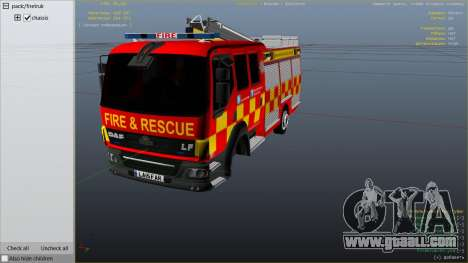 GTA 5 DAF Lancashire Fire & Rescue Fire Appliance right side view