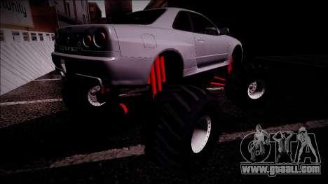 Nissan Skyline R34 Monster Truck for GTA San Andreas interior