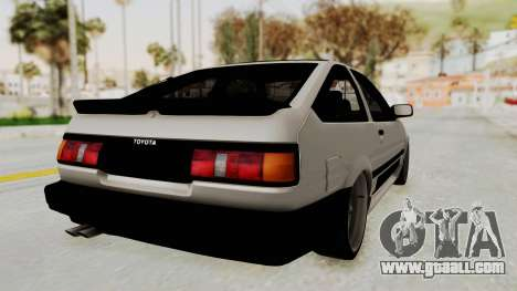 Toyota AE86 Sprinter Trueno for GTA San Andreas back left view