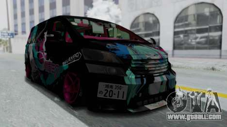 Toyota Vellfire Miku Pocky Exhaust Final Version for GTA San Andreas