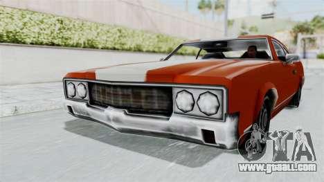 GTA Vice City - Sabre Turbo (Unsprayable) for GTA San Andreas back left view