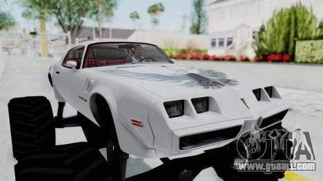 Pontiac Firebird Trans Am Monster Truck 1980 for GTA San Andreas back view